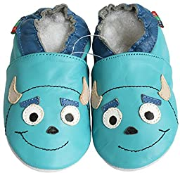Carozoo Baby Boy Monster U James Turquoise S 12-18m Soft Sole Leather Shoes