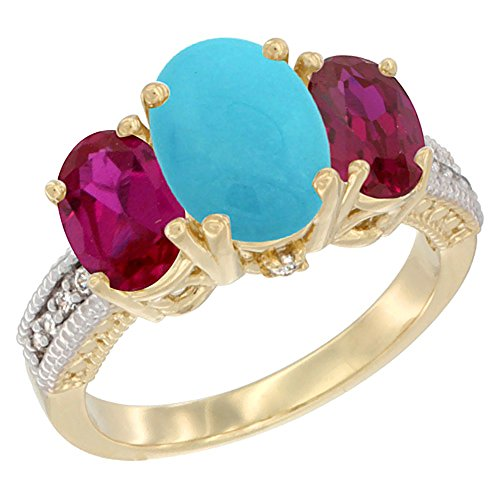 14K Yellow Gold Diamond Natural Turquoise Ring 3-Stone Oval 8X6Mm With Ruby, Size 6