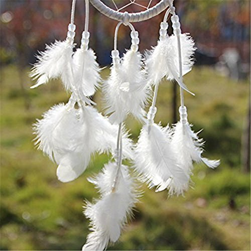 "Yansanido Dream Catcher Handmade Traditional white Beaded Feathers Approx 4.33"" Diameter 15.7"" Long Dreamcatcher ( White)"