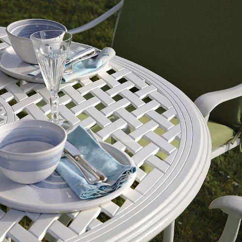 Weißes Lily 120cm Rundes Gartenmöbelset Aluminium - 1 Weißer LILY Tisch + 4 Weiße APRIL Stühle