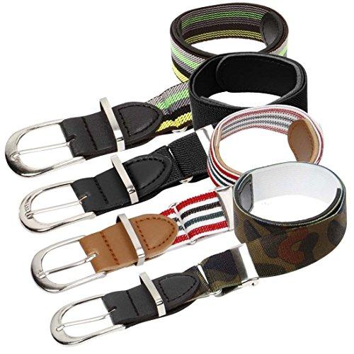 Bundle Monster 4pc Adjustable Elastic Band Boys Fashion Stretch Belts - Set 3, Trendsetter (Belts For Kids compare prices)