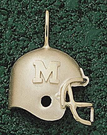 Marshall Thundering Herd M Helmet Pendant - 14KT Gold Jewelry by Logo Art