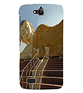 Fuson 3D Printed Lord Buddha Designer Back Case Cover for Huawei Honor Holly - D563