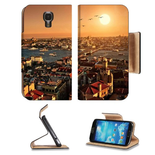 Istanbul Turkey Sunset Landscape Scenery Samsung Galaxy S4 Flip Cover Case With Card Holder Customized Made To Order Support Ready Premium Deluxe Pu Leather 5 Inch (140Mm) X 3 1/4 Inch (80Mm) X 9/16 Inch (14Mm) Luxlady S Iv S 4 Professional Cases Accessor
