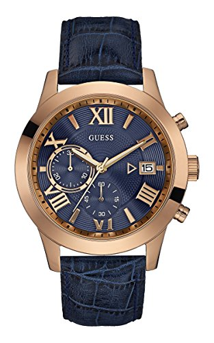 Guess hombre-reloj cronógrafo de cuarzo cuero W0669G2