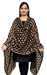S.K. Ethnic India Women's Chiffon Hand Embroidered Dupatta (Black_Free Size)