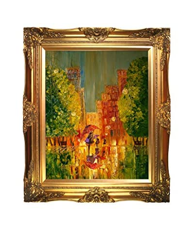 "Justyna Kopania ""Rain With Green Trees"" Framed Canvas Print"