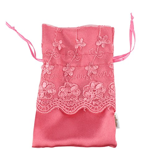 Kobwa(Tm) Red Lace Wedding Favor Bags Jewelry Drawstring Pouches Gift Bags With Kobwa'S Keyring