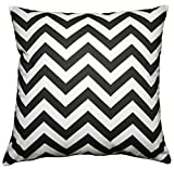 JinStyles Cotton Canvas Chevron Striped Accent Decorative Throw Pillow Cover (Black & White, Square, 1 Cover for 18 x 18 Inserts)