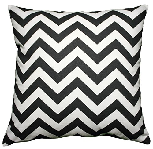 JinStyles® Cotton Canvas Chevron Striped Accent Decorative Throw Pillow Cover (Black & White, Square, 1 Sham for 18 x 18 Inserts)