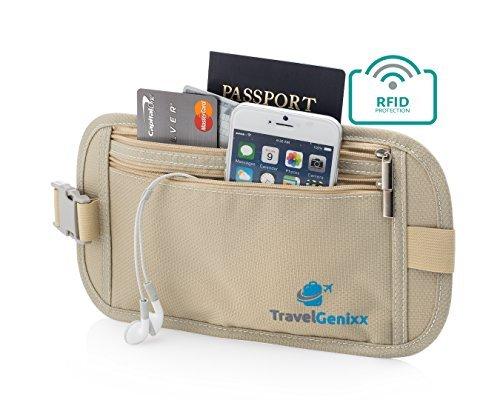 Marsupio Portasoldi da viaggio RFID Money-Cintura da girovita, misura: S (small), per proteggere e nascondere tutti i Essentials