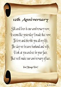 12th Wedding Anniversary Gift Ideas Uk : 12th Anniversary Personalised Poem Gift Print: Amazon.co.uk: Kitchen ...