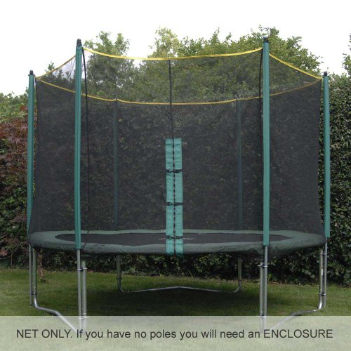 10ft Trampoline Net (for use with trampolines with 6 enclosure poles). Premium quality and highly durable. DOES NOT INCLUDE POLES, SLEEVES OR TRAMPOLINE.