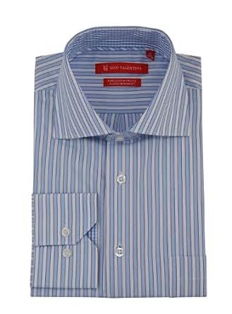 "Gino Valentino Mens Striped Dress Shirt Cotton Spread Collar Barrel Cuff (14.5"" Neck 32/33 Sleeve, Blue White)"