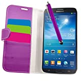 Samrick Executive �tui en cuir avec porte-cartes socle protecteur d'�cran chiffon en microfibre et stylet pour Samsung i9200 Galaxy Mega 6.3 et i9205 Galaxy Mega 6.3 Violet
