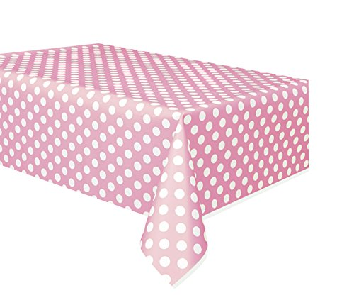Unique Party - Tovaglia di carta per feste, plastificata e sagomata, colore: rosa a pois, 275 x 137,2 cm