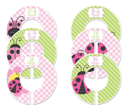 Ladybug #72 Baby Closet Dividers Girl Clothes Organizers Set Of 6