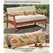 Image of Solid Eucalyptus Outdoor Deep Seating Love Seat with Cushions,