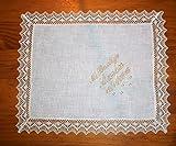 PRIMERAEDAD/Pañuelo bautizo semihilo beige personalizado con nombre y fecha/32 x 26 cm/