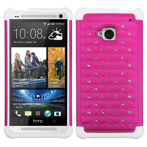 Hot Pink/Solid White Luxurious Lattice Dazzling TotalDefense Protector Cover