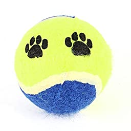 Water & Wood Paw Pattern Catch Fetch Tennis Ball Toy for Cat Pet Yellow Green Blue