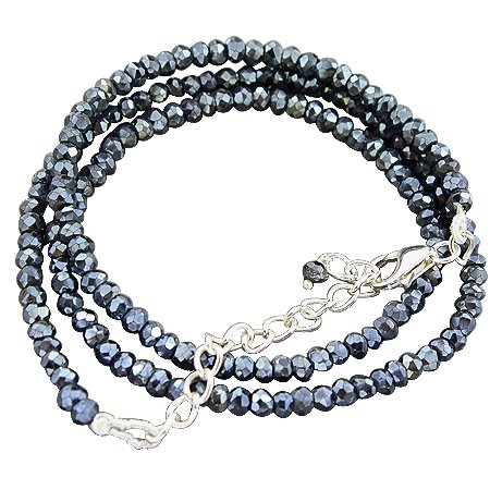 925 Sterling Silver Natural 3 mm Black Spinal Gemstone Beads Strand Necklace with Lobster Closer Handmade Jewelry 18