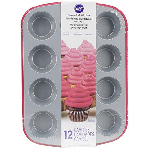 Wilton 12 Cavity Recipe Right Non-Stick Covered Muffin Pan, 14.76 by 10.7-Inch, Red (Wilton Recipe Right Covered Pan compare prices)