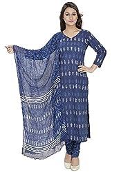 Pinkshink Blue Block Printed Salwar Kameez Dress Material k84