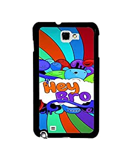 Fuson Premium Hey Bro Metal Printed with Hard Plastic Back Case Cover for Samsung Galaxy Note 2 N7100