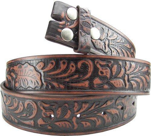 """Hot Buckles Brown Western Flower Embossed Genuine Leather Snap On Belt (XS(27""""-29""""))"""