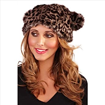ladies acrylic one size luxury leopard faux fur hat with ears with fleece lining