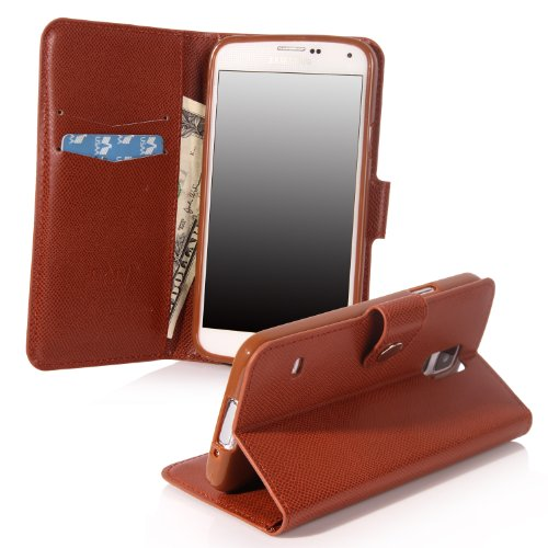 Galaxy S5 Case, Galaxy S5 Flip Case - E Lv Deluxe Pu Leather Folio Wallet Case Cover For Samsung Galaxy S5 / Galaxy Sv / Galaxy S V (At&T, T-Mobile, Sprint, Verizon) - Brown