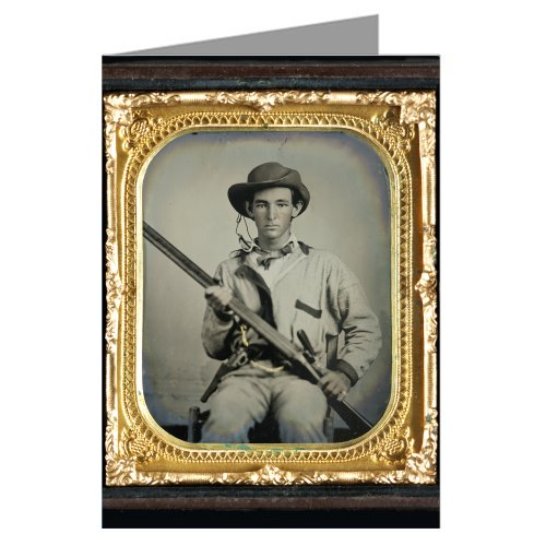 12 Vintage Notecards of Southern Civil War soldier in pullover hunting-style shirt with dark military-type trim with double barrel shotgun,