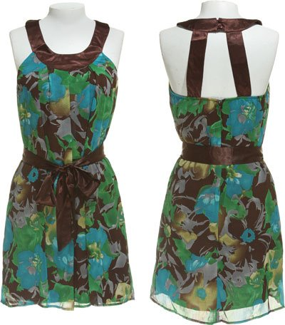 MODERN LOVE Floral Print Trapeze Dress [WDY-5257], Choco/Green, Medium