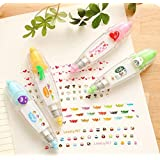 Hxytech 4Pcs Novelty Cute Cartoon Correction Tape Sticker Machines Pen Adhesive Kawaii Stationery Masking Tape School Supplies DIY Scrapbooking Stickers Diary Decor