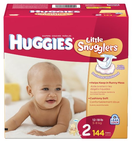 Huggies Little Snugglers Diapers, Size 2, 144 Count