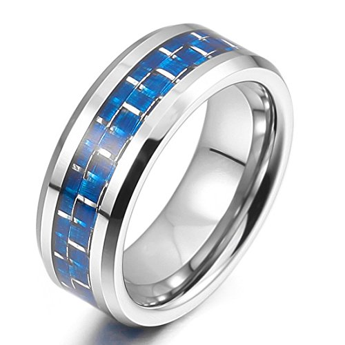 Men'S 8Mm Tungsten Carbon Fiber Band Ring Silver Blue Grid Comfort Fit Wedding Elegant Size11