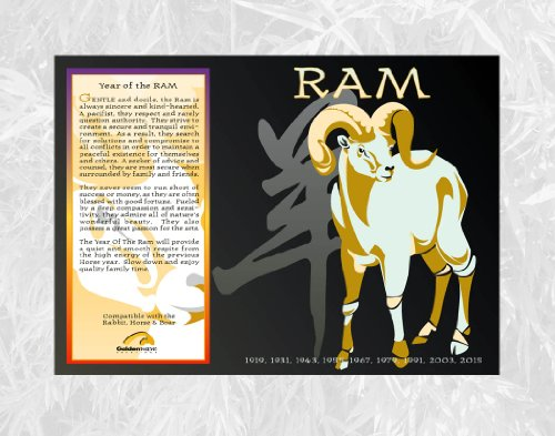 Asian-Oriental-Chinese-Zodiac-Poster-Year-of-the-Ram-Birth-Years-1919-1931-1943-1955-1967-1979-1991-2003-2015