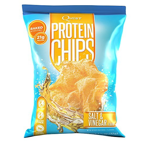 Quest Nutrition Protein Chips, Salt & Vinegar, 21g Protein, Baked, 1.2oz Bag, 8 Count (Quest Chip Salt And Vinegar compare prices)