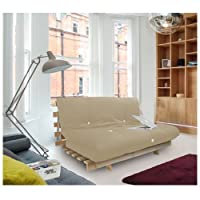 Complete 3 Seater Futon in Stone, Wooden Futon Base and Luxury Mattress. Versatile & Comfortable, Converts from 3 Seater Sofa to Bed in Minutes. from Matching Bedroom Sets