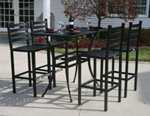 The Ansley Collection 4-Person All Welded Cast Aluminum Patio Furniture Bar Height Set