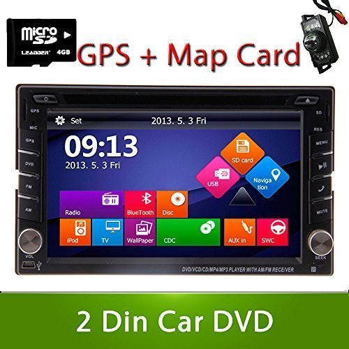 Windows Win 8 UI Design Rear Camera Included 2015 New Model 6.2-Inch Double-2 DIN In Dash Car DVD Player Touch screen LCD Monitor with DVD/CD/MP3/MP4/USB/SD/AM/FM/RDS Radio/Bluetooth/Stereo/Audio and GPS Navigation SAT NAV Wall Paper exchange HD:800*480 LCD+ Free GPS Antenna+Free GPS Map+Free Backup Camera