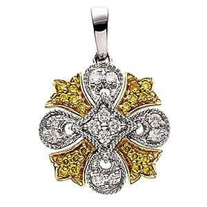 Genuine IceCarats Designer Jewelry Gift 14K Yellow Gold Two Tone Diamond Pendant