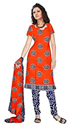 Shopeezo Orange Colored Poly Cotton Printed Dress Material