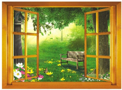 Createforlife Home Decoration Art Vinyl Mural Wall Sticker Decal Window Forest View Decal Paper