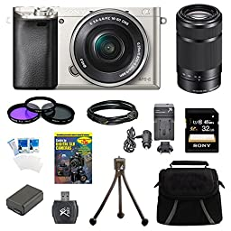 Sony a6000 ILCE6000LS ILCE-6000L/S ILCE6000 Alpha a6000 24.3 Interchangeable Lens Camera Silver with 16-50mm Power Zoom Lens BUNDLE with SEL 55-210 (Silver), 32GB Class 10 Card, Spare Battery, Deluxe Padded Case, DVD SLR Guide, SD Card Reader, and MORE