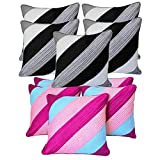 Diagonal Patch Quilting Cushion Covers Combo Grey & Pink 40 X 40 Cms(10 Pcs Set)