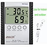 Weather Thermometers,Asscom Indoor and Outdoor Humidity Thermometer Wall Mount Monitor Sensor Thermostat Home Office