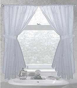 Ava Fabric Bathroom Window Curtain Set Shower Curtains