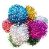 "Sparkle Ball Cat Toy - 5 Pak -3"" - Jumbo Pom Poms"